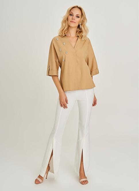 People By Fabrika Taş İşlemeli Gömlek Camel